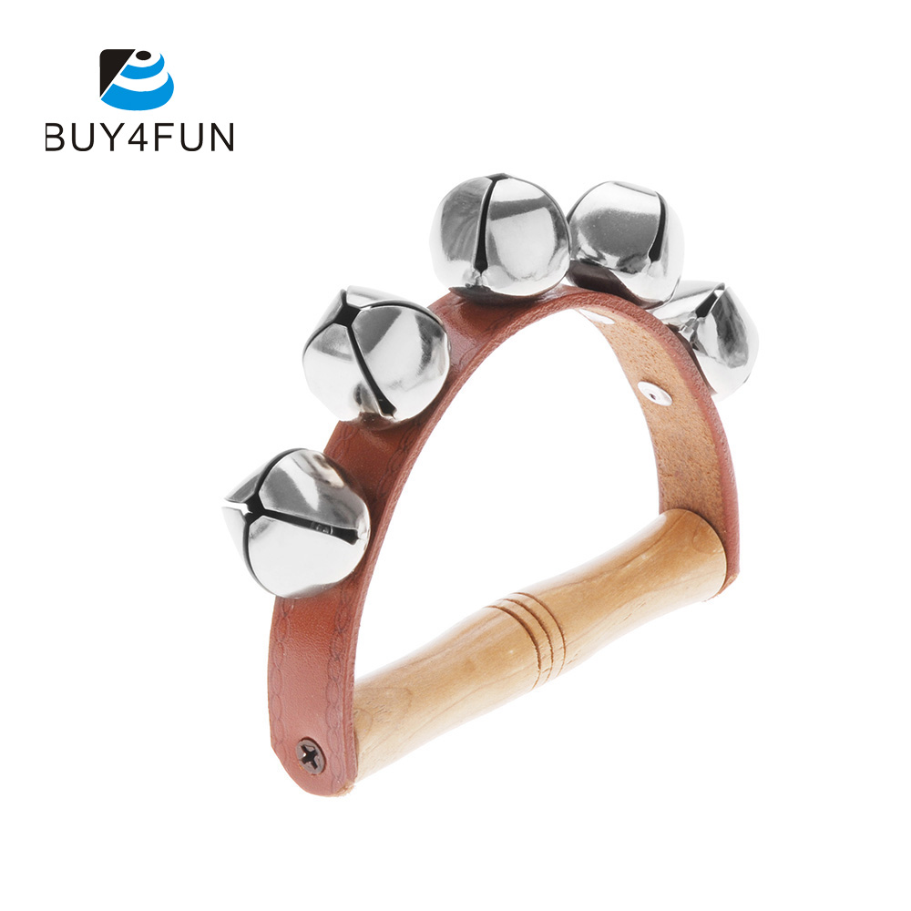 Wood & Metal & Leather Handbell Musical Instrument Rhythm Beat Shaking Small Jingle Bell for Baby Kid Child Early Education shelf