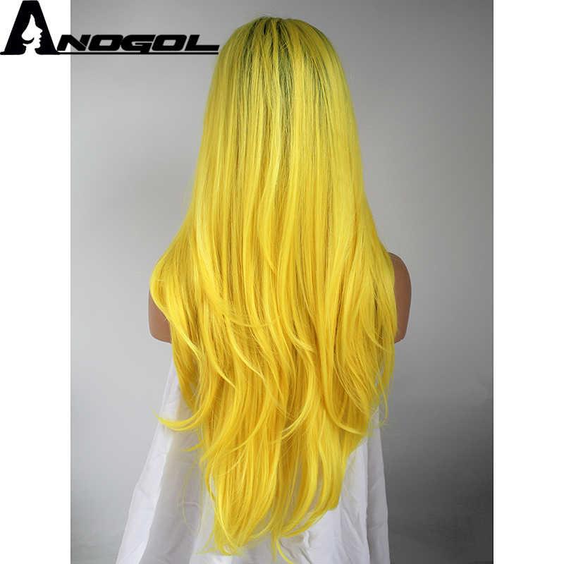 Anogol темные корни Омбре желтый высокая температура волокно средняя часть длинные натуральные волны синтетические кружева спереди парик для