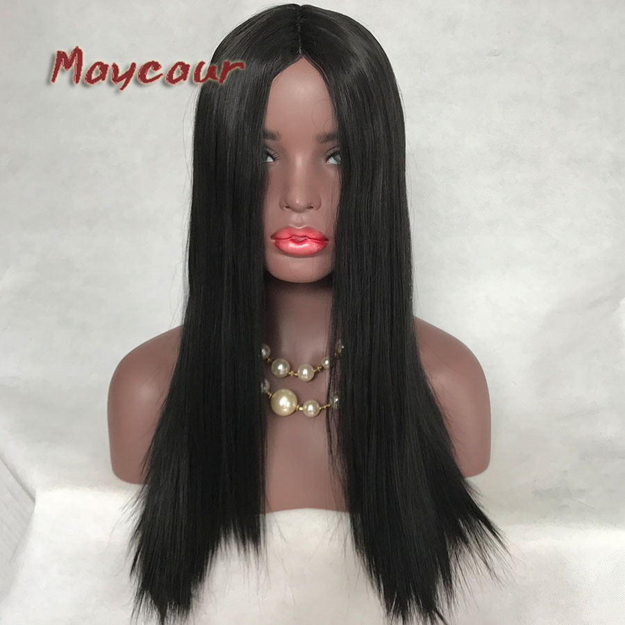 Long Hairline Natural Straight Hair Glueless Middle Part Lace Wigs Heat Resistant Fiber Wig Synthetic Lace Wigs For Women