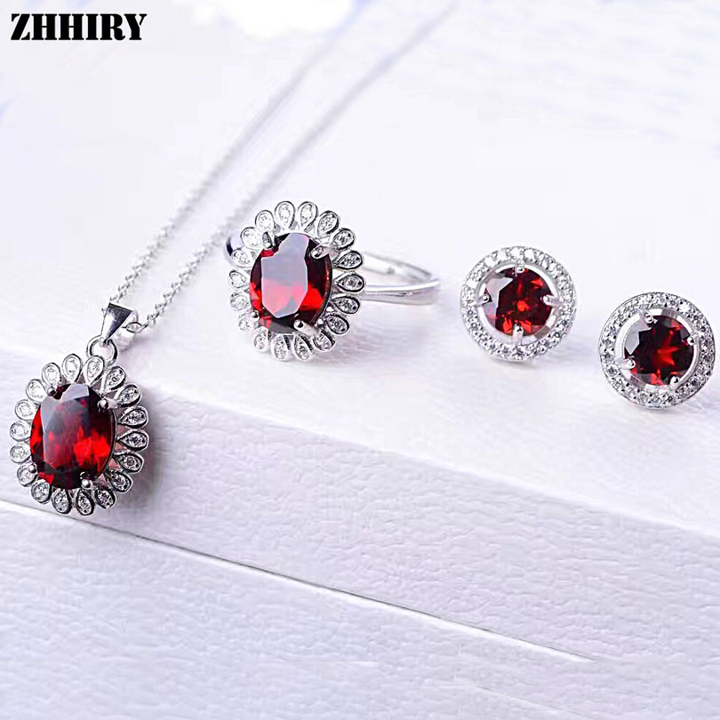 ZHHIRY Women Jewelry Sets Natural Garnet Gem Stone Genuine 925 Sterling Silver Ring Earring Pendant Chain wholesale price 16new ^^^^ewellery green stone inlay zircon earring pendant ring sets