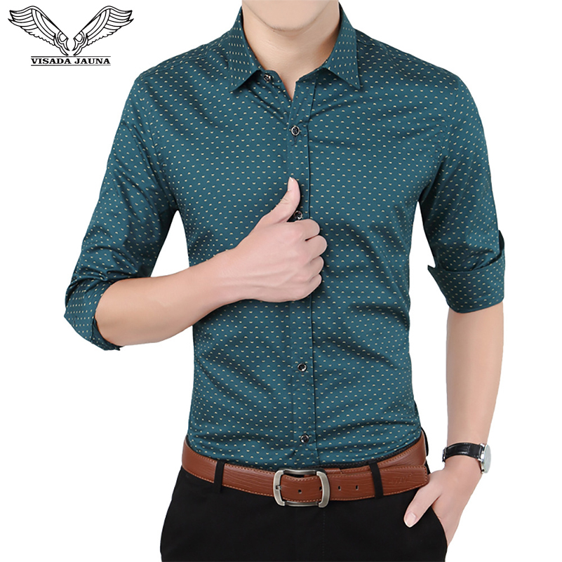 VISADA JAUNA 2019 Men's Casual Shrit рубашка Business Slim Fit Brand Wild Fashion Male Boys Cheap Floral Big Size 5XL N5106