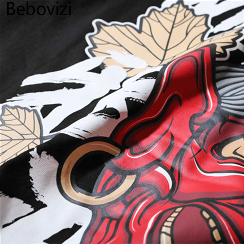 Bebovizi Brand 2018 Summer Japanese Style Evil Ghost Printed Tops Tees Mens Chinese Character T Shirts Hip Hop Cotton Tshirts in T Shirts from Men 39 s Clothing