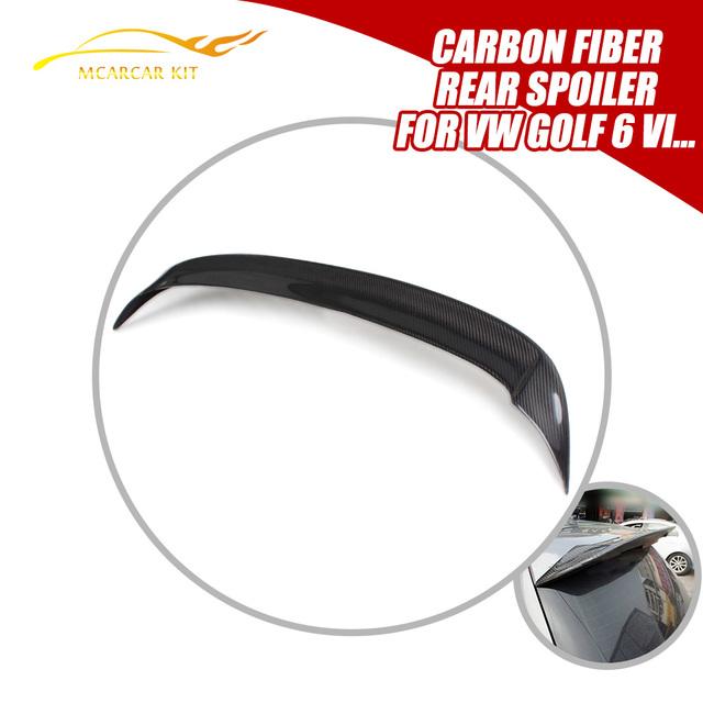 O Estilo Do Carro de Fibra De carbono Traseiro Telhado Asa Bota Lábio Spoiler Fit For VW Golf 6 VI MK6 R20 GTI 2010-2013