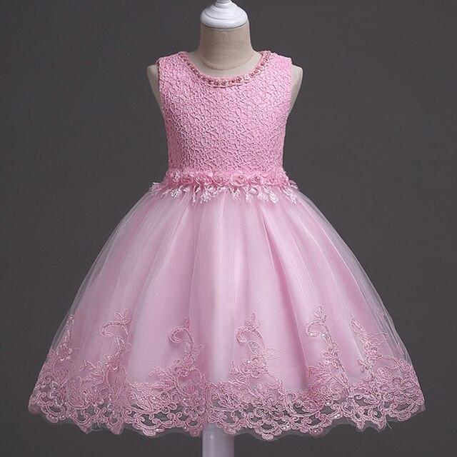 Verano Niñas Encaje perla boda elegante paegant flor bordada ...