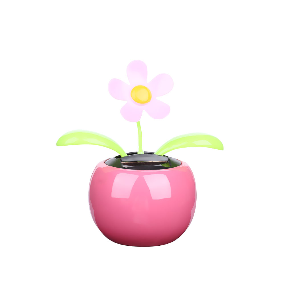 Home Car Flowerpot Solar Power Flip Flap Flower Plant Swing Auto Dance Toy OY