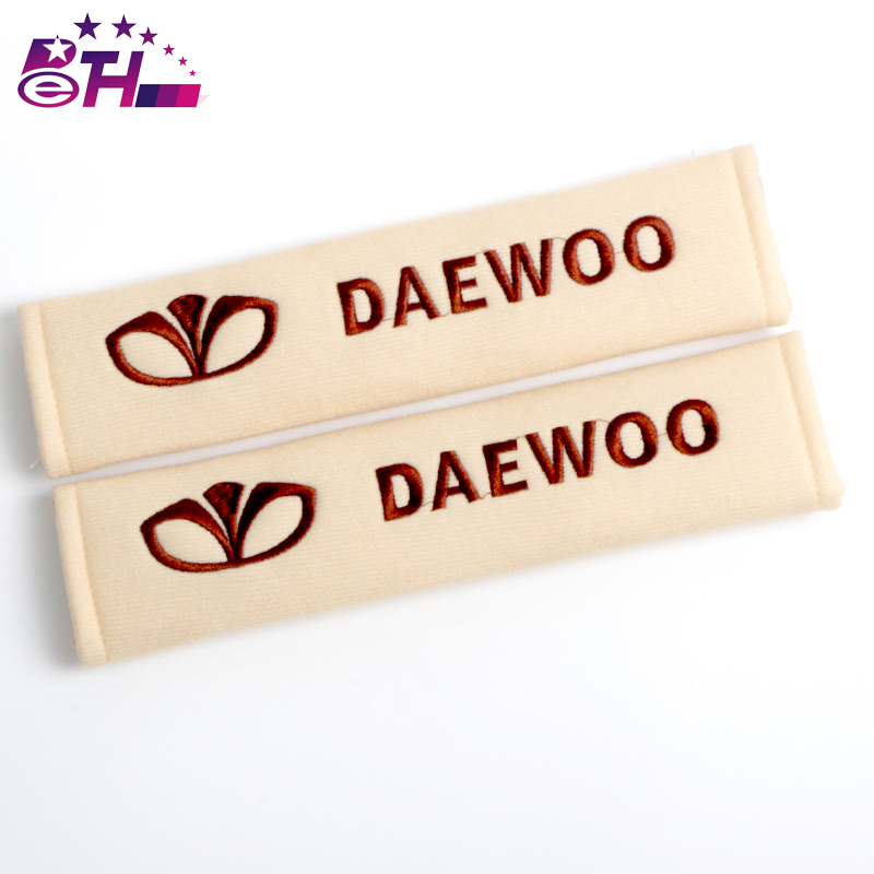 2pcs Car Safety Belt embroidery pattern covers seat belt fit for Daewoo Seat Cover cotton Shoulder Pad