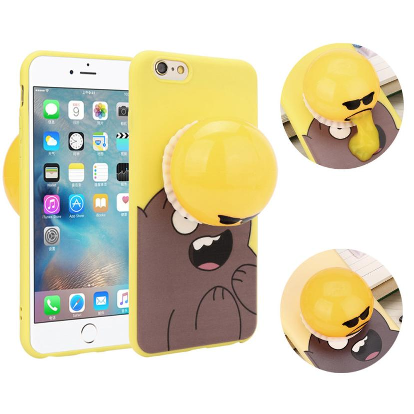 2017 Hot selling Decompression Novelty Gag Toys Spitting Yolk Egg Prank Clear Silicone Soft Case Cover For IPhone 6/6s 4.7