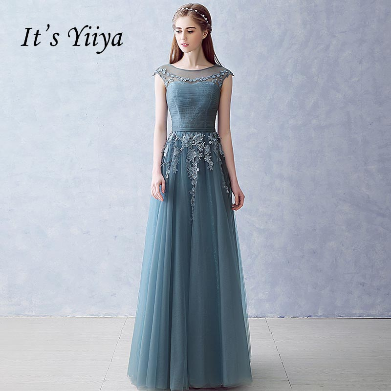 It's Yiiya Blue Illusion Tulle Backless Pleat Zipper Flowers Elegant   Evening     Dress   Floor Length Party Gown   Evening   Gowns LX046