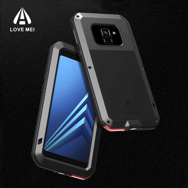 competitive price 431fa cc403 2018 Shockproof A8 Phone Case for Samsung Galaxy A8 Plus LOVEMEI Life  Waterproof Metal Case for Samsung A8 2018 Full protection