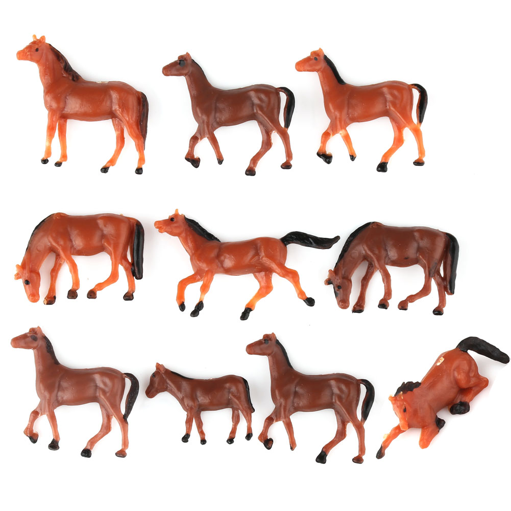 10x HO Scale Model Train Building Layout Painted Animal Figures 1/87 Gauge Horse New