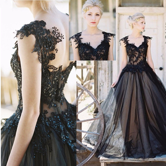 SoDigne Black Lace Wedding Dress 2017 V Neck Appliques Victorian ...