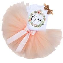 Рождественские наряды для маленьких девочек на день рождения, платья для первого дня рождения, комбинезон+ повязка на голову, платье-пачка на крестины на 1 год комплект из 3 предметов