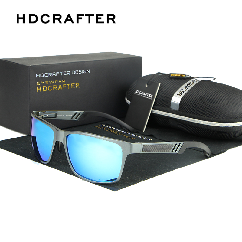 HDCRAFTER Aluminum Magnesium Polarized Sunglasses Men Driving Square Sun Glasses for Male Eyewear Oculos de sol