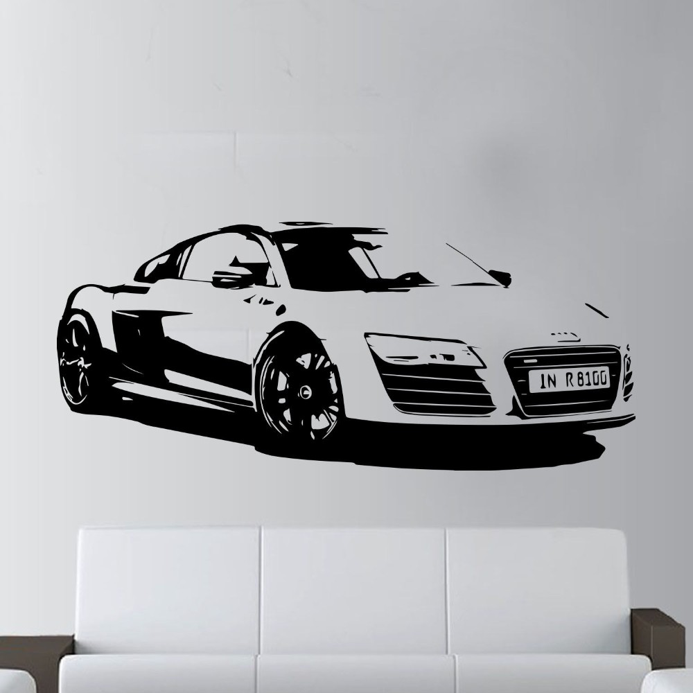 Audi Bettwäsche 57x130cm Fashion Large Car Audi R8 Coupe Sports Wall Art Decal Home Decor Racing Car Wall Paper Art Vinyl Art Mural Kw 331