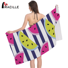 Miracille Watermelon Print Rectangular Beach Towel Bath Microfiber Picnic Seaside Cooler Swimming Pool Mat Drop Ship