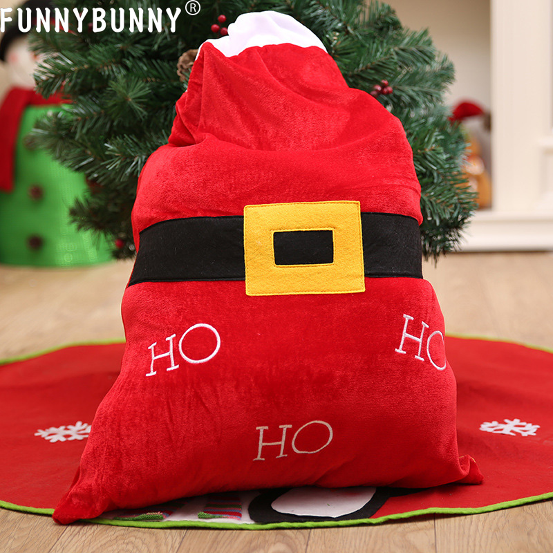 FUNNYBUNNY 1 pc Big Christmas Bag Santa Claus Gift Sack Stocking Bag Candy Gift Bags in Stockings Gift Holders from Home Garden