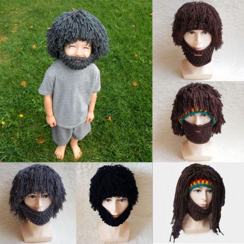 pudcoco Newest Arrivals Hot Infant Newborn Toddler Dread Lock Knitted Men  Beard Wig Crochet Mustache Face Hat Winter Cap 73de796d098d