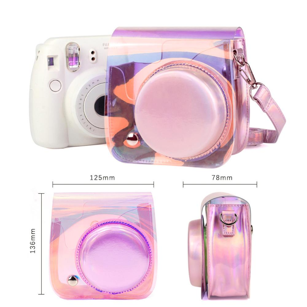 Protective Bag Laser Magic Color Camera Case With Adjustable Shoulder Strap For Polaroid Fujifilm Instax Mini 9 8 8 PINK in Camera Video Bags from Consumer Electronics