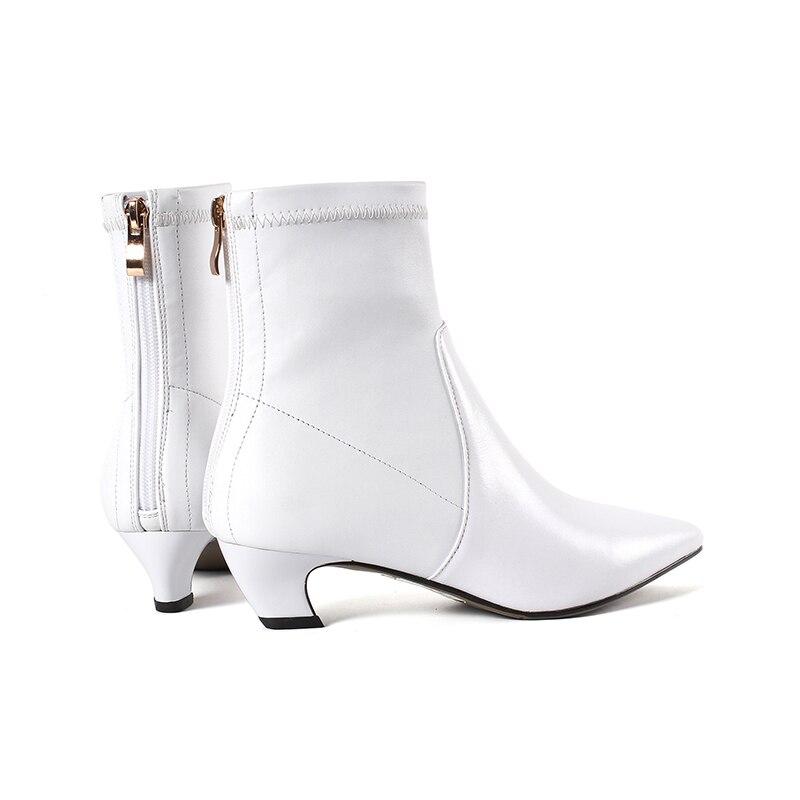 ISNOM 2018 Neue Herbst Stretch Frauen Stiefel Dick Heels Stiefel Spitz Weibliche Schuhe Zipper Winter Warm Echtem Leder Schuhe-in Knöchel-Boots aus Schuhe bei  Gruppe 3