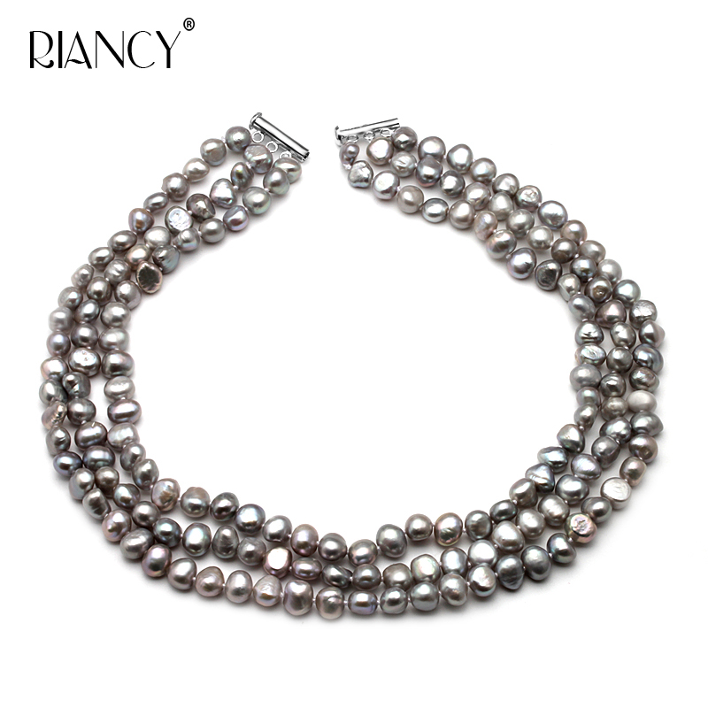 Black/Gray/white Natural Baroque Multi-layer pearl Necklace  Real Freshwater jewelry for women gift