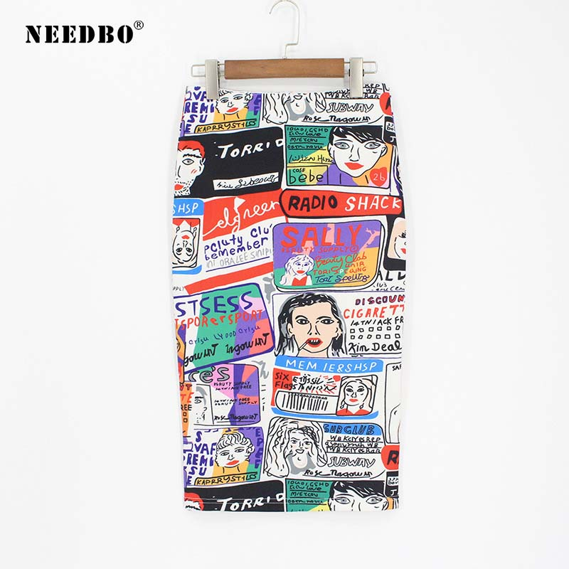 NEEDBO Women Skirt Pencil Print Cartoon High Waist Slim Women Skirts Fashion 2019 Midi Skirt Women Knee Length Jupe Femme Skirts in Skirts from Women 39 s Clothing
