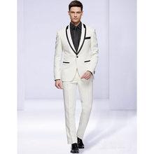 c03e46acb4 Borde negro novio esmoquin un botón Groomsman traje de boda de la alta  calidad por encargo traje para hombres ropa (chaqueta + P..