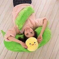 Super Kawaii Cartoon Green Pea Plush Cushion Lovely Stuffed Toy For Children Doll Girlfriend Birthday Gift