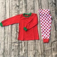 Girls cute red dot printing thermal pajamas children leisure comfortable long sleeve long pant pajamas