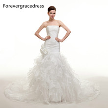 Forevergracedress Modest Strapless Long Wedding Dress New White Organza With Lace Up Back Bridal Gown Plus Size Custom Made