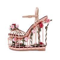 Fashion Wedding Party Dress Shoes Women Super High Heel Summer Sandals Flower Embellished Bird Cage Garden Ankle Strap Sandals
