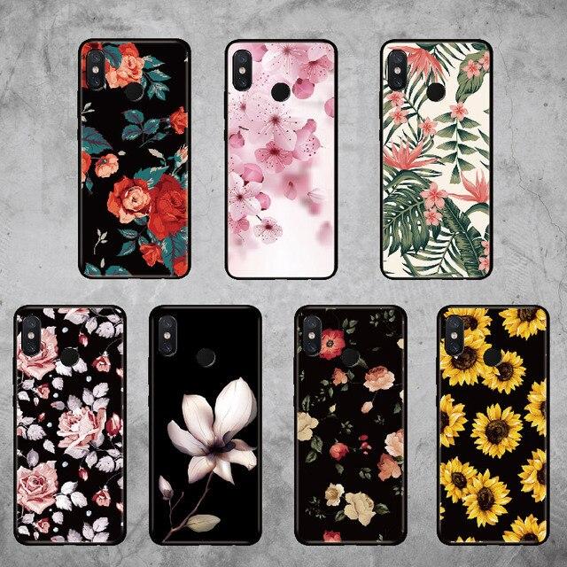 Para Xiaomi mi rojo mi Pocophone F1 Nota 5 5 5 6 6 7 8 9 lite Pro Plus Vintage Retro Floral rosa funda de teléfono suave de girasol