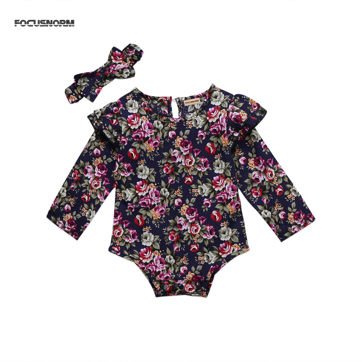 Vintage Floral Romper Jumpsuit Headband Clothes Set Toddler Infant Baby Girl Playsuit Outfit
