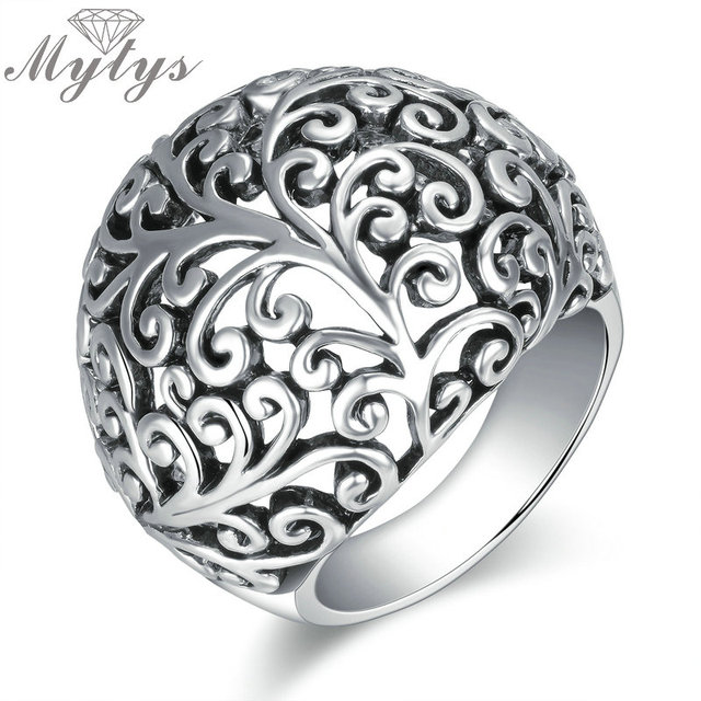 Mytys Antique Rings Hollow Plant Pattern Grey Metro Ring Round Shape Retro Style
