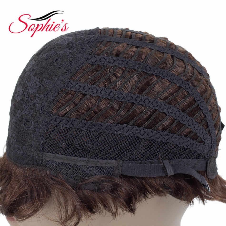Sophie'nin kısa postiç Siyah Kadınlar Için Olmayan Remy düz insan saçı Peruk 4 inç 100% İnsan Saç Makine Yapımı Hiçbir Koku h. NINA Peruk