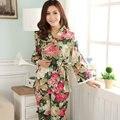 Primavera E no Outono Longo-luva Das Mulheres Sleepwear Tecido 100% Algodão Set Lounge Fashion Lacing Estilo Floral Pajama Define 9671
