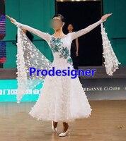 New Modern Waltz Tango Ballroom Dress, Smooth Ballroom Dress, hoa Tiêu Chuẩn Phòng Khiêu Vũ Trang Phục Cô Gái, trắng, tango salsa samba