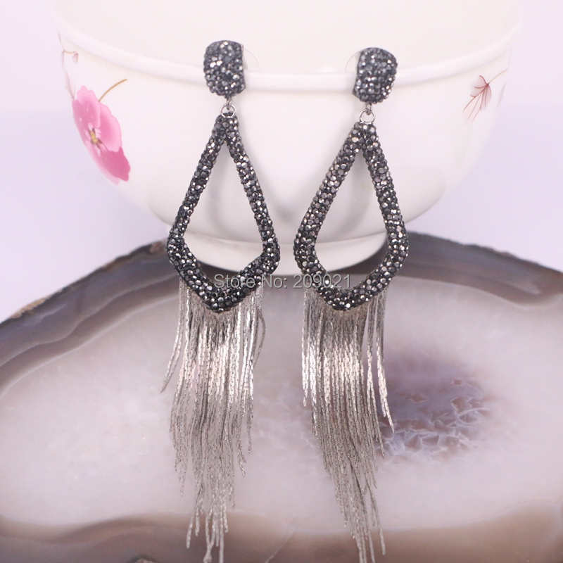5Pairs Pave Black Rhinestone Long Tassel Earrings Charms For Women Jewelry