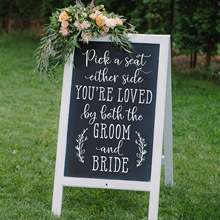 Nordic Style Pick A Seat DIY Wedding Sign Decal Chalkboard Sign Decal Choose A Seat Either Side Sign Wedding Decor Wall Sticker