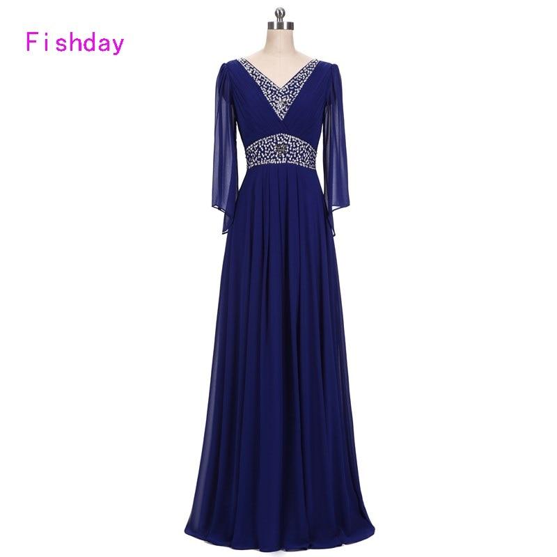 Вечірні сукні Fishday Бісером довгий рукав шифон Royal Blue Елегантний вечір плюс розмір Vestido de Festa Мама нареченої QB20