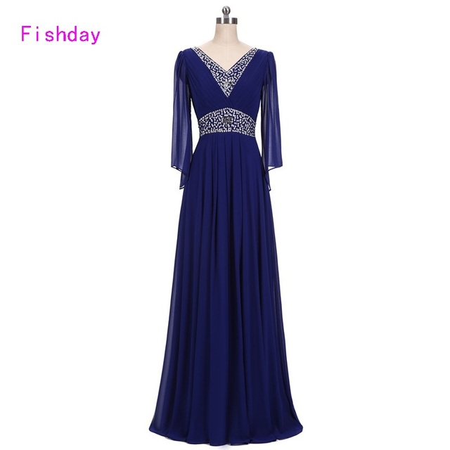 Fishday Evening Dresses Beaded Long Sleeve Chiffon Royal Blue Elegant Party Plus Size Vestido de Festa Mother of the Bride B20