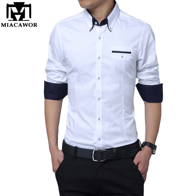 Aliexpress.com : Buy Mens Casual Shirts Slim Fit Cotton Solid ...