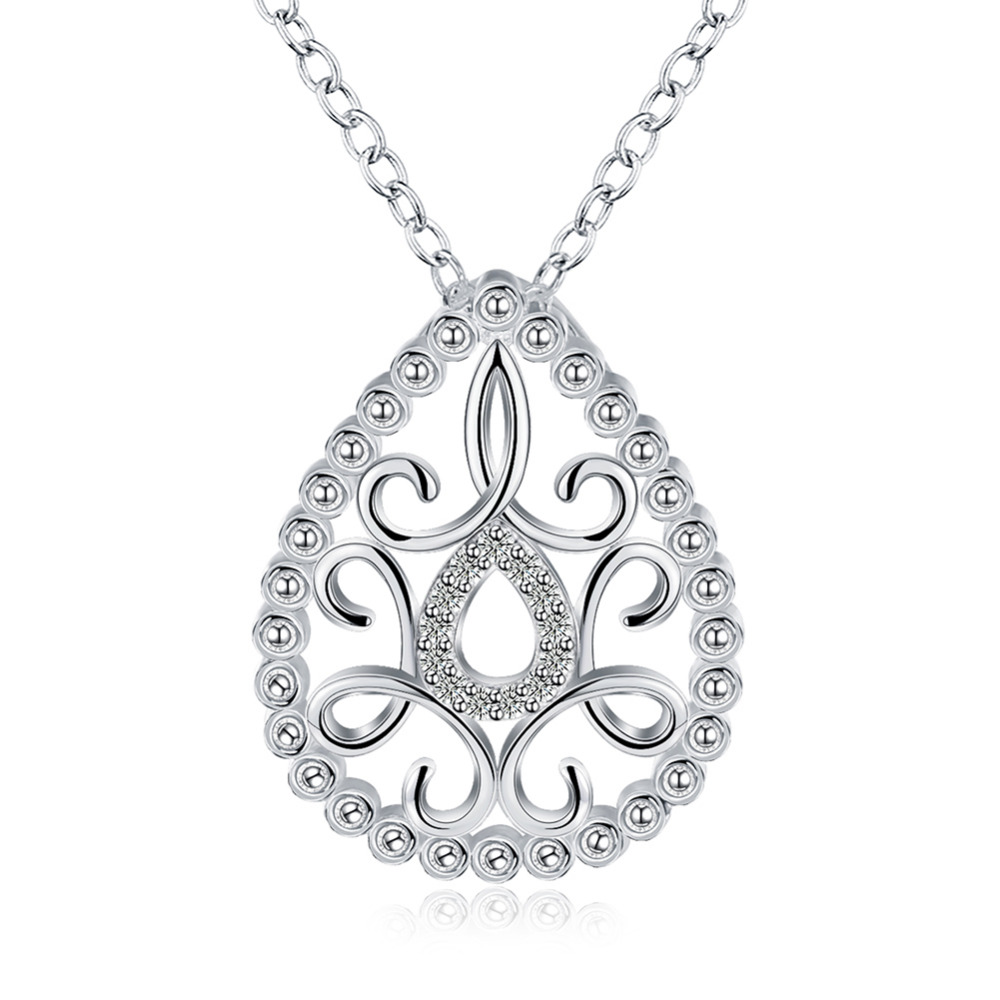 2016 New 925 sterling silver double long holow drop flower tag with heart pendant necklace for mens fine jewerly wholesale
