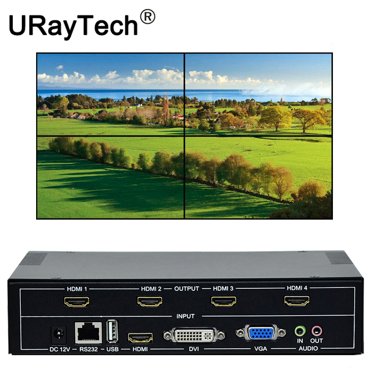 Contrôleur mural TV 4 canaux 2x2 1x3 1x2 HDMI DVI VGA USB processeur vidéo TV boîte d'épissage avec contrôle RS232