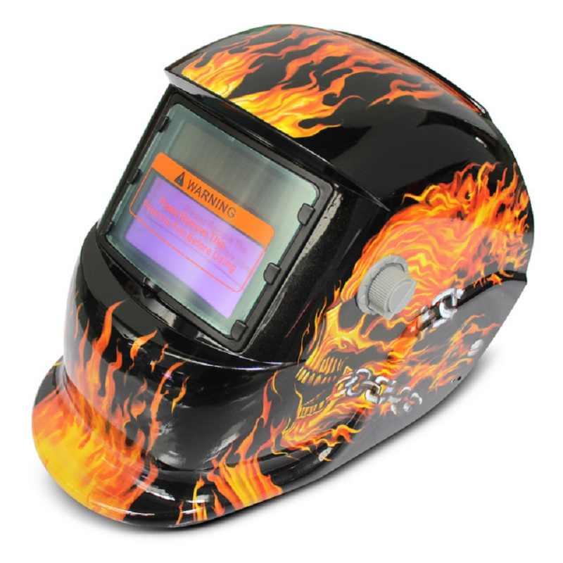 Сварочная маска Солнечная энергия автоматический сменный свет затемнение Электрический сварочный шлем с черепом шаблон сварщика потертая бейсболка маска