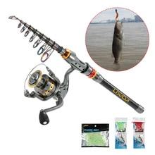 Lixada Telescopic Fishing Rod and Reel Combo Full Kit Spinning Fishing Reel Gear 100M Fishing Line Lures Hooks Fishing Bag