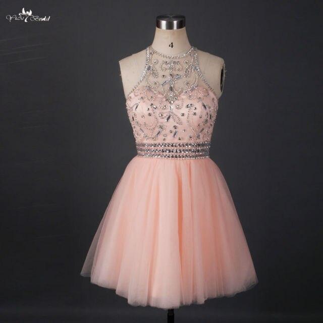 e54667ed85 RSE663 Short Sparkly Homecoming Dresses Halter Neck Beaded Crystals Tulle  Mini Key hole Open Back Party Graduation Dress