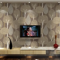 beibehang Modern minimalist embossed forest non woven wallpaper 3D flocking Scandinavian hot forest bedroom video wallpaper