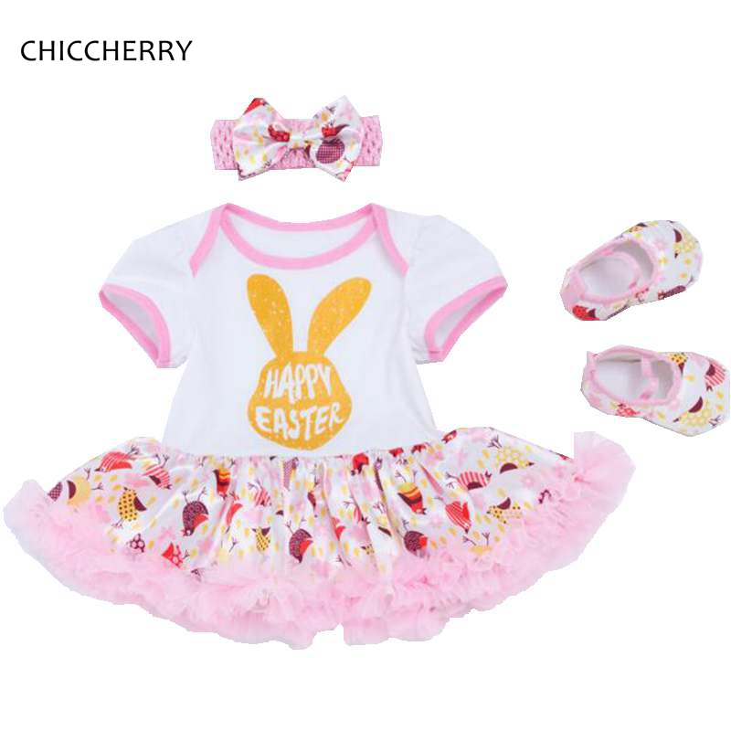 Happy Easter Outfits For Baby Girl Clothes Romper Dress Headband Crib Shoes 3pcs Newborn Tutu Sets Infant Clothing Bebek Giyim