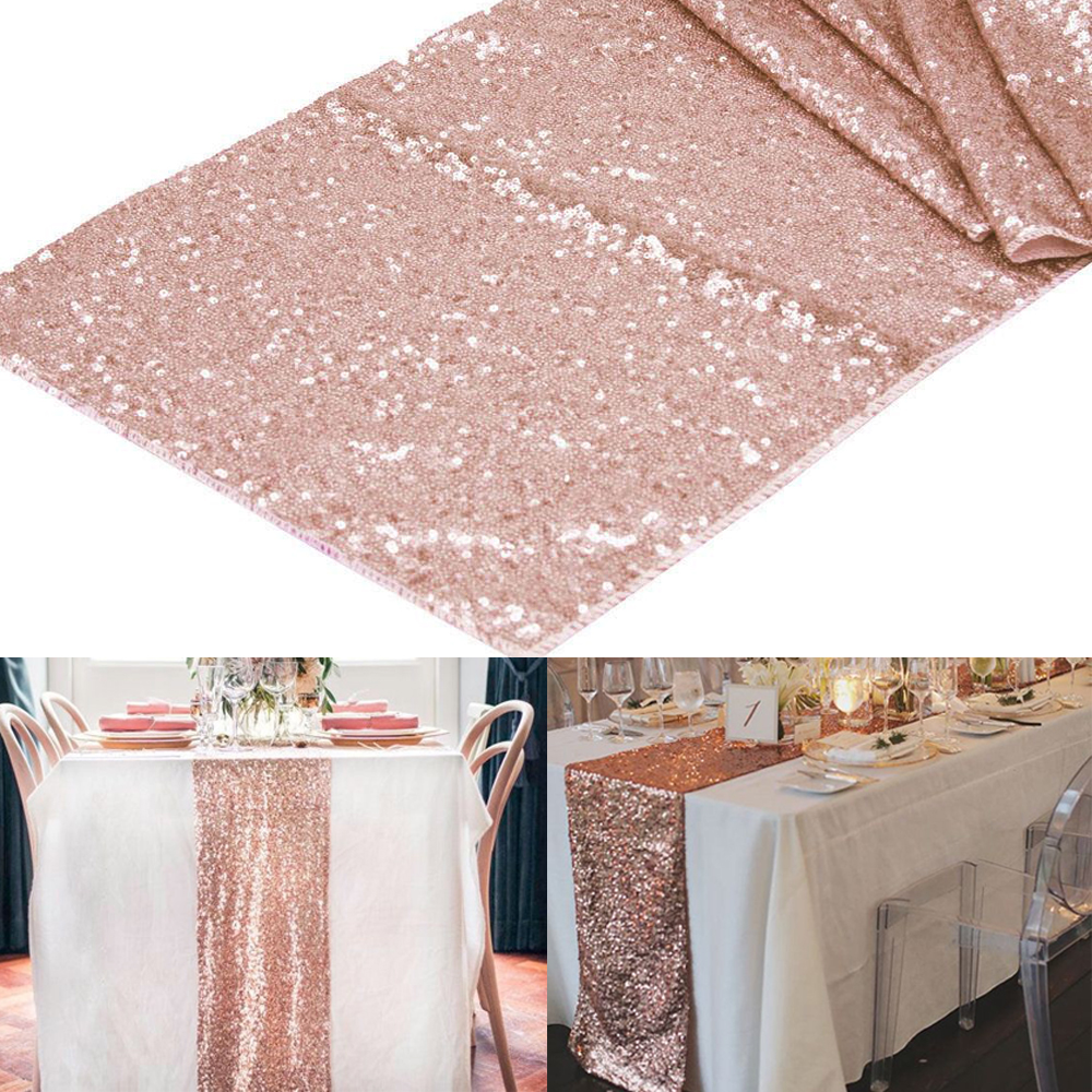 1pcs 12 X108 Rose Gold Champagne Sequin Table Runner 30x275cm Sparkly Wedding Party Decor Event Bling Decoration In Diy Decorations From