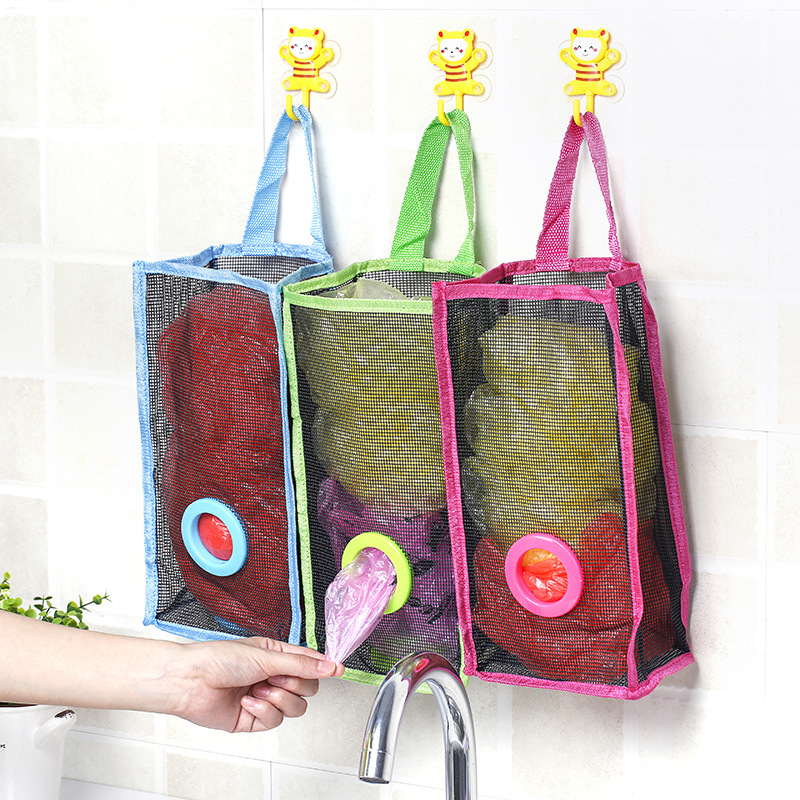 Kitchen Garbage Bags: Hanging Storage Bag Dispenser Kitchen Mesh Holder Garbage